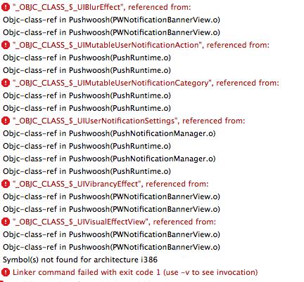 undefined symbols for architecture i386 pushwoosh